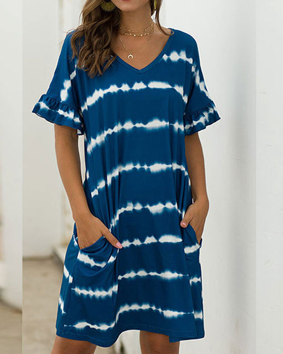 Pocket Striped Mini Dresses Lotus Sleeve