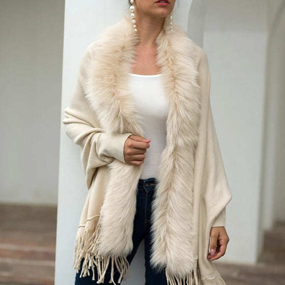 Tassel Fringed Cloak Shawl Fur Collar Sweater Cape Cardigans