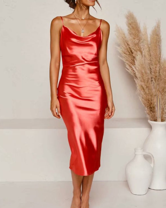 Sling Satin Backless Party Midi Dresses