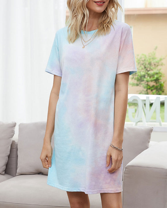 Women's Tie-Dye Mini Dresses Short Sleeve Home Loungewear