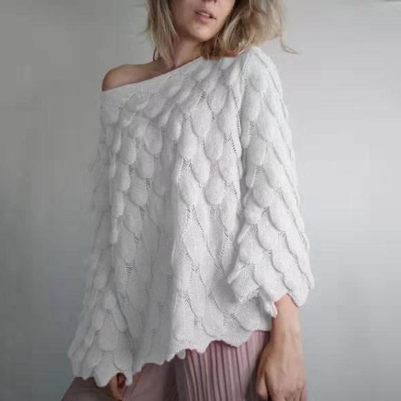 Hollow Leaves Feather Horn Sleeve Knit Off-the-shoulder Sweater