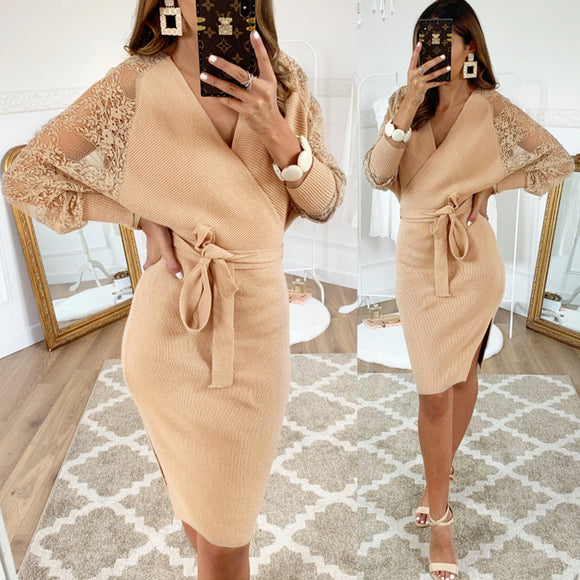 Deep V-neck Collar Elegant Lace Sleeve Bodycon Midi Dresses