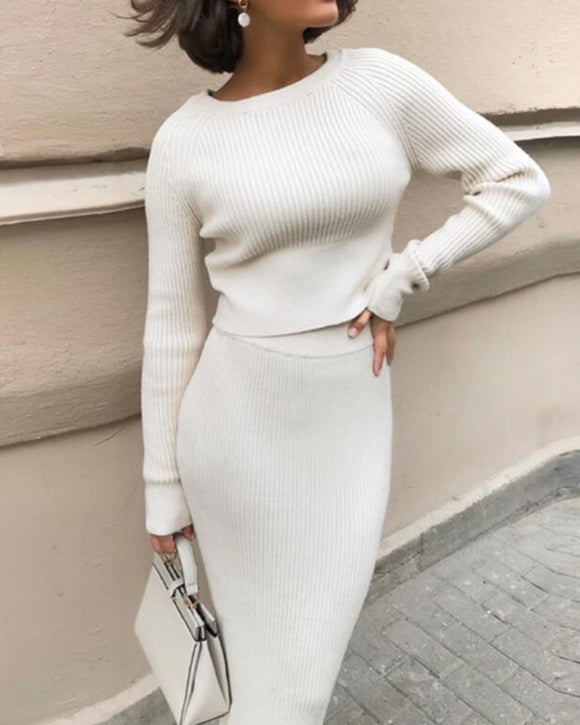 Splicing Elastic Waist Bodycon Sweater Dresses Crop Tops Skirt Two-piece