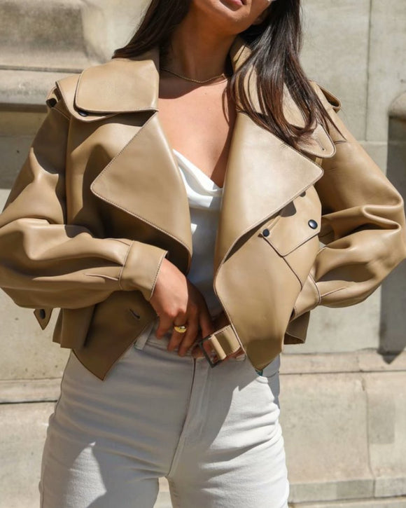 Pile Collar Pocket Crop Leather Tops Jacket Outerwear