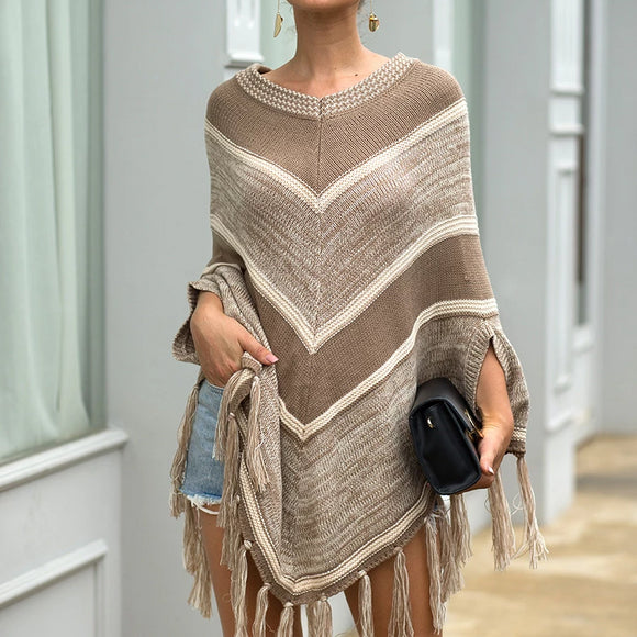 Tassel Fringed Pullover Geometric Pattern Sweater Cloak Shawl Cape
