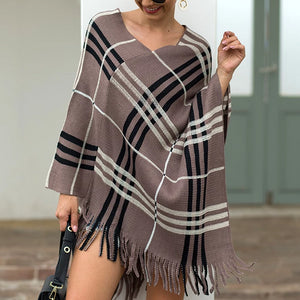Tassel Fringed Pullover V-neck Diagonal Stripes Sweater Cloak Shawl Cape