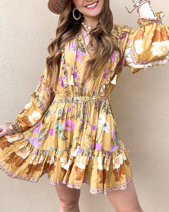 Boho Bohemia Lace-up Hollow-out Floral Printed Tassel Mini Dresses