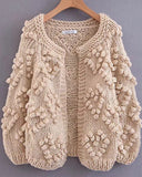 V-neck Handicraft Splicing Hollow-out Sweaters Cardigans
