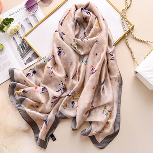 Butterfly Floral Silk Scarf for Women