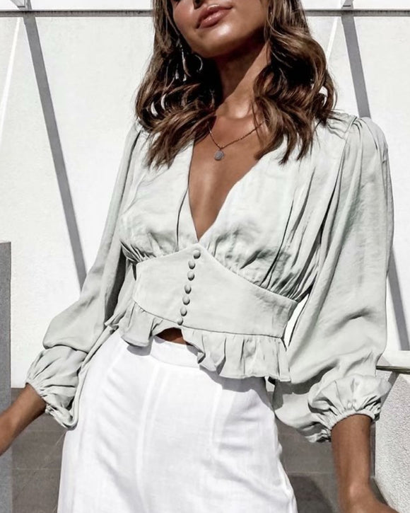 Lantern Sleeve V-neck Ruffled Shirts Blouses