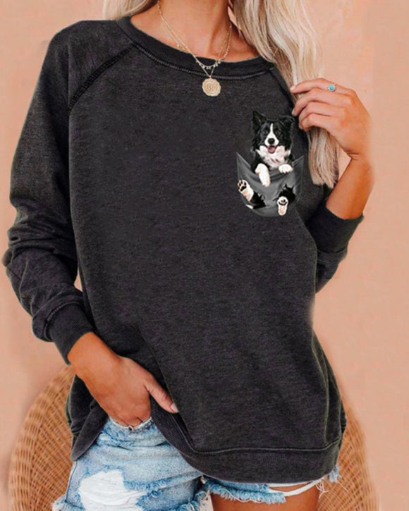 Round Neck Animal Printed T-Shirts Shirts Blouses Sweatshirts