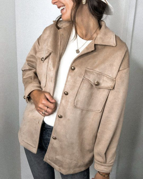 Splicing Single-breasted Button Suede Lapel Outerwear Coat