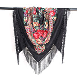 Ethnic Flower Print Triangle Scarf Shawl Fringed Scarves for Women Ladies Girls