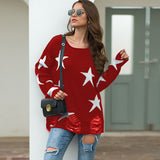 Star Pattern Round Neck Hole Sweater