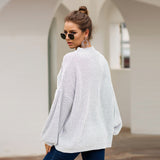 High-collared Lantern Sleeve Knit Oversize Sweater