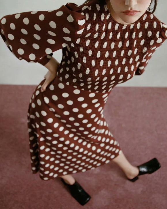 Shirred Frill Splicing Polka Dot Midi Dress