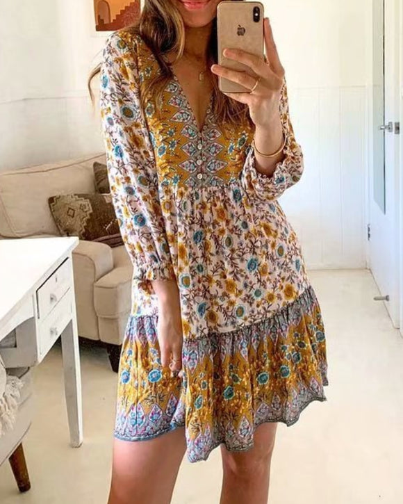 Boho Bohemia V-neck Single-breasted Ruffled Floral Mini Dresses