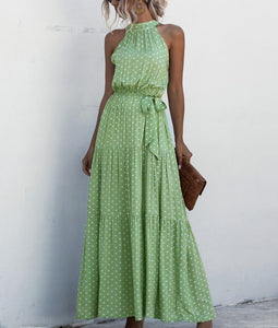 Green Wave Bohemian Boho Printed Hanging Neck Straps Maxi Dresses