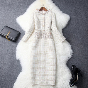 Vintage Long Sleeve Tweed Round Neck Diamond Slim Midi Bodycon Dresses