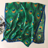 Peacock Feather Long Silk Scarf for Women