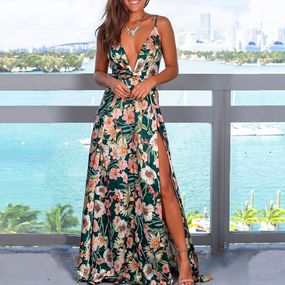Green Sexy Sling Colorful Floral Evening Party Maxi Dresses