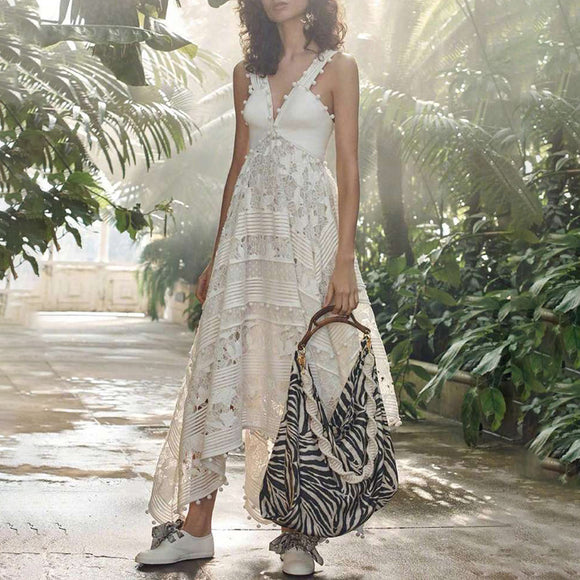 White Hollow Lace Embroidery Ball Tassel Stitching Irregular Strap Floral Maxi Dresses