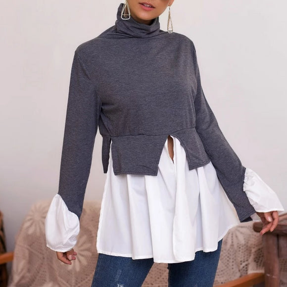 Women's High Neck Irregular Stitching Ruffle Shirt