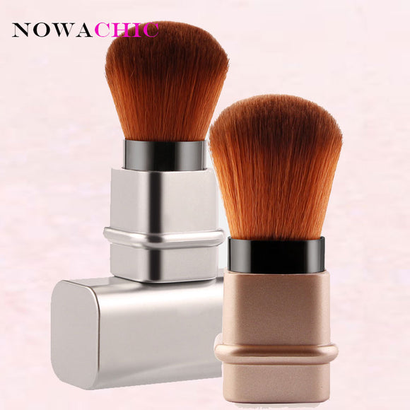 Square Retractable Blush Makeup Brush - Gold Silver
