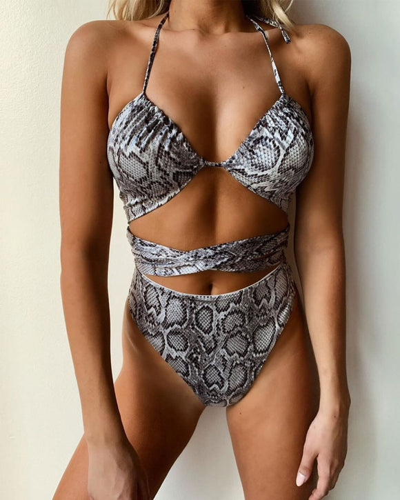 Strappy Swimwear Snake Print One-piece Lace-up Swimsuit