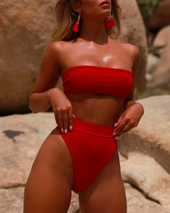 High Waist Tube Top Bikini Swimwear Two-piece