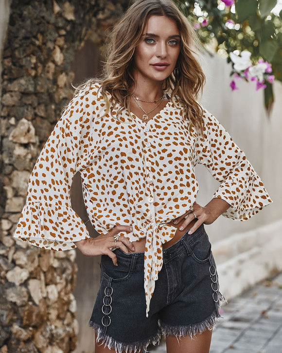 V-neck Printed Floral Tops Lotus Sleeve Polka Dot T-shirt