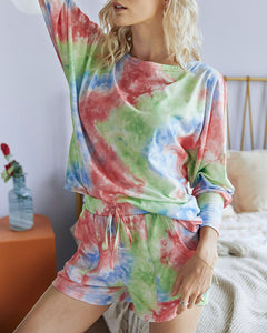 Tie-dye Lace-up Casual Loungewear Two-piece Set