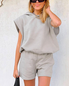 Gray Hooded Sleeveless Casual Loungewear Two-piece Set