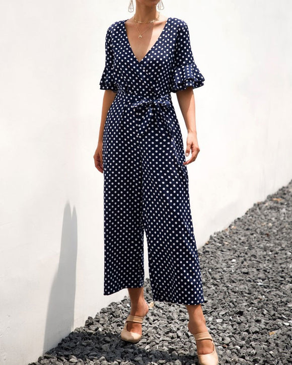 Ruffled Flared Sleeve Polka Dot Lace-up Jumpsuit V-neck Rompers