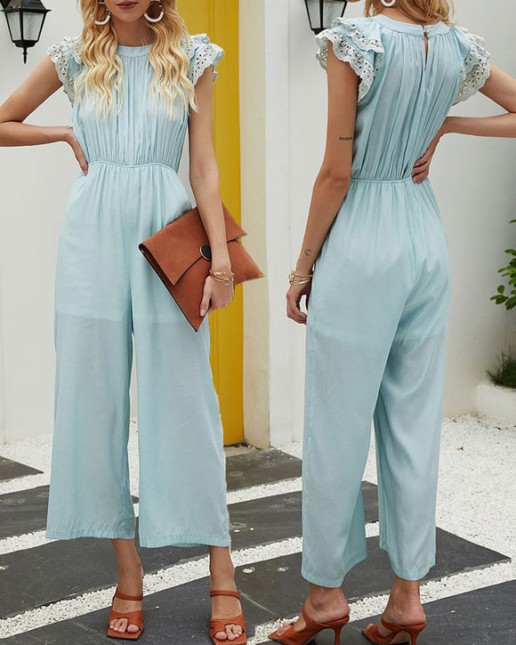 Hollowed-out Sleeve Edge Elastic Waist Jumpsuit Pleated Tops Loose Cropped Pant Rompers