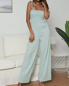 Suspenders Tube Top  Lace-up Jumpsuits Loose Pants