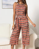 Halter Strappy Jumpsuit Rainbow Wavy Rompers Cropped Pants