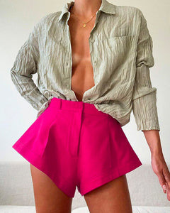 Wide-leg Buttons Flared Horn Hem Mini Shorts Hot Pants