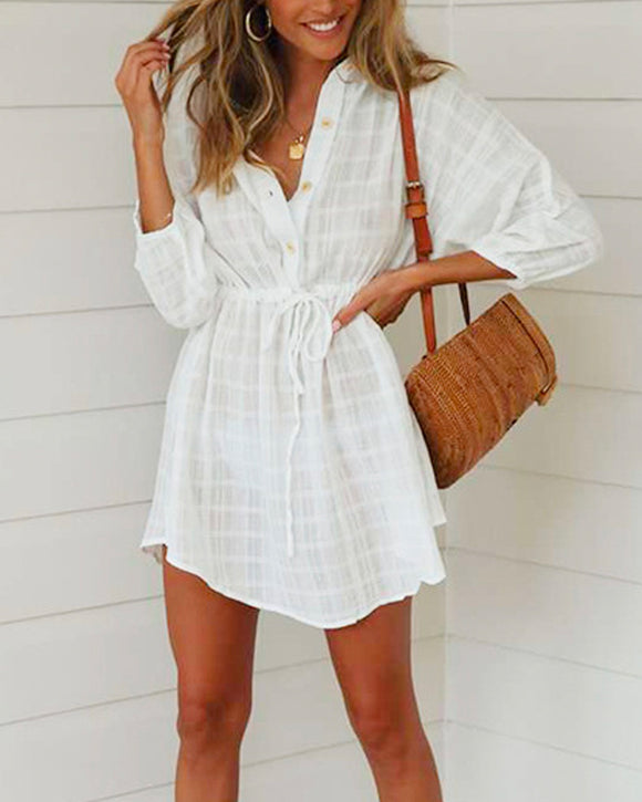 Vintage Loose Shirts Waistband Adjustable Mini Dresses