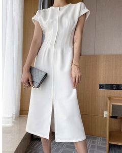 Short Sleeve Zipper A-line Maxi Dress