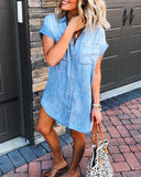 Single-breasted Pocket Denim Shirt Mini Dress
