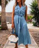 Single-breasted Lace-up Elastic Waist Jean Denim Midi Dress