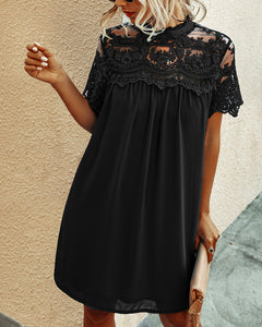 Solid Color Lace Joint Hollowed-out Chiffon Mini Dress