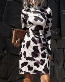 Stand Collar Leopard Print Snake Print Slim Dress Body-con Dress 4