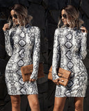 Stand Collar Leopard Print Snake Print Slim Dress Body-con Dress Grey
