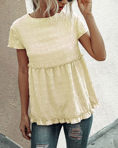 Frilly Short-sleeve Blouse Tops Casual T-shirt