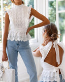 Backless Lace Hollwed-out Shirt Sleeveless Lace-up Tops