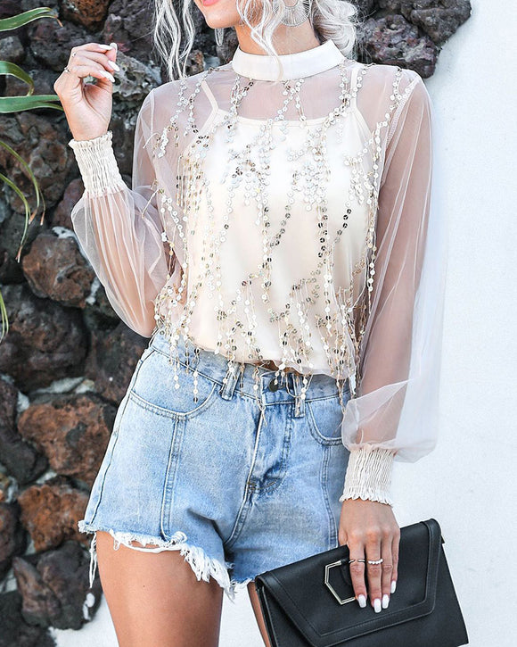 Lantern Sleeve Sparkly Chiffon Lace Sequin Shirt Tops
