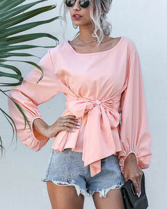 Lantern Sleeve Lace-up Tie Pink Chiffon Shirt