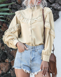 Flounces Lace Lantern Sleeve Single-breasted Ruffled Chiffon Shirt
